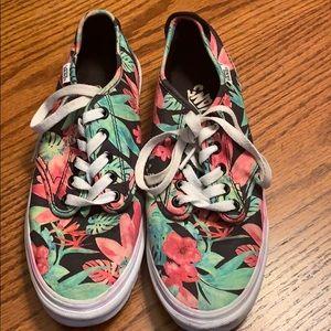 VANS floral lace up shoes, size 8